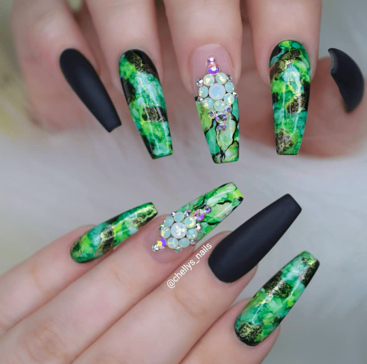 Fashion Beauty And Lifestyle Blogs: Money Green And Black Nail Designs Perfect For Summer